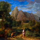 Mercury and Battus landscape canvas art print by Jean-Francois Millet