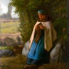 Shepherdess Seated on a Rock 1856 landscape canvas art print by Jean-Francois Millet