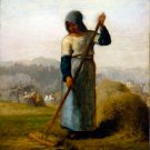 Woman with a Rake ca 1857 landscape canvas art print by Jean-Francois Millet
