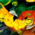Cows Yellow Red Green 1912 domestic animal farm woods landscape canvas art print by Franz Marc