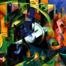 Abstract with Cattle 1913 cows domestic animals farm woods landscape canvas art print Franz Marc