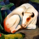 There Trails 1911 cow domestic animal farm woods forests landscape canvas art print by Franz Marc