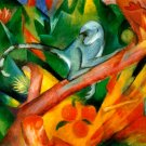 The Affchen 1912 monkey wild animal woods forests landscape canvas art print by Franz Marc