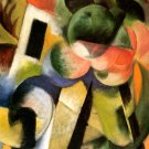Small Composition II, house with trees 1914 landscape canvas art print by Franz Marc
