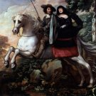 King Charles II and Jane Lane riding to Bristol landscape horses canvas art print by Isaac Fuller