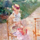 Young Woman Knitting ca 1883 woman portrait canvas art print by Berthe Morisot