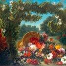 Basket of Flowers 1849 still life canvas art print by  Eugène Delacroix