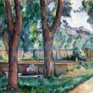 The Pool at the Jas de Bouffan 1880s landscape canvas art print by Paul Cezanne