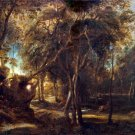 A Forest at Dawn with a Deer Hunt ca 1635 landscape canvas art print by Peter Paul  Rubens
