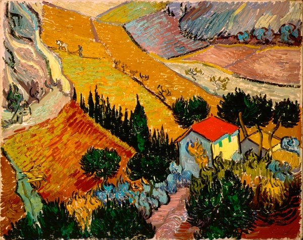 Landscape with House and Ploughman country farm canvas art print by Vincent van Gogh