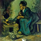 Peasant Woman Cooking by a Fireplace 1885 canvas art print by Vincent van Gogh