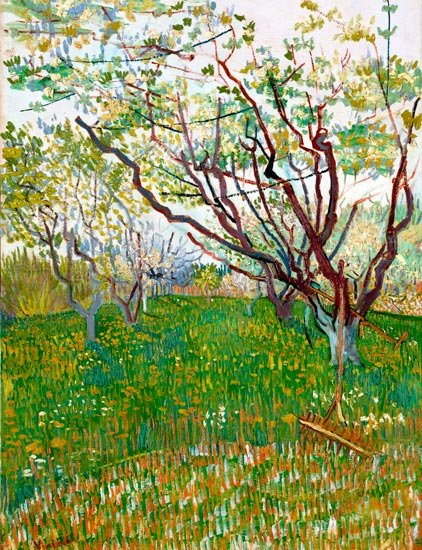 Orchard in Blossom landscape garden canvas art print by Vincent van Gogh