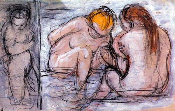Bathing Girls women canvas art print by Franz Marc