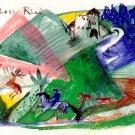 Castle Ried wild animals deers man on horseback equestrian landscape canvas art print by Franz Marc