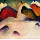 Hay Stacks in the Snow landscape canvas art print by Franz Marc