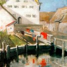 Indersdorf 1904 water river cityscape canvas art print by Franz Marc