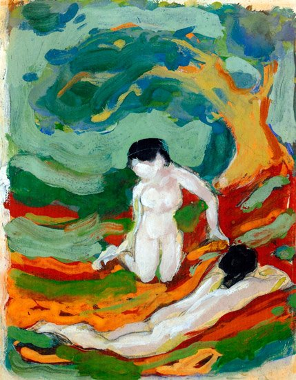 Two women under Trees canvas art print by Franz Marc