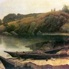 Canoes American West water landscape canvas art print by Albert Bierstadt