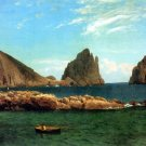 Capri Italian island in the Tyrrhenian Sea Italy seascape canvas art print by Albert Bierstadt