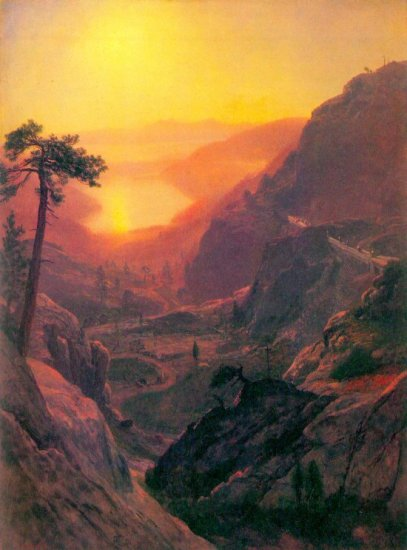 Donner Lake American West water landscape canvas art print by Albert Bierstadt