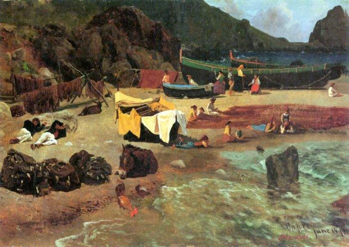Fishing Boats on Capri Italian island Tyrrhenian Sea Italy landscape canvas art print by Bierstadt