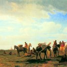 Indians near Fort Laramie Wyoming native American landscape canvas art print by Albert Bierstadt