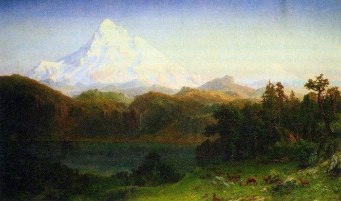 Mt. Hood Oregon American West landscape canvas art print by Albert Bierstadt