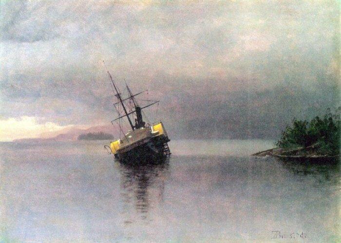Shipwreck in Loring Bay Alaska seascape canvas art print by Bierstadt