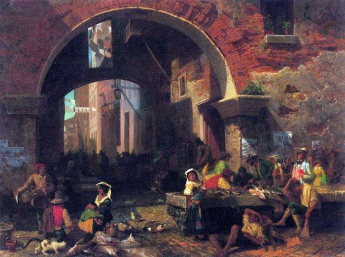 The Arc of Octavius Roman Fish Market canvas art print by Bierstadt