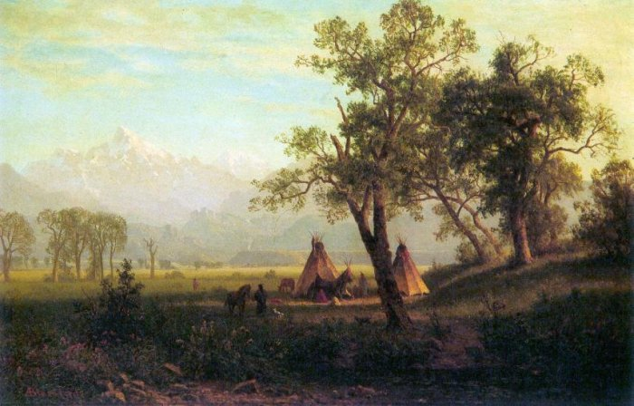 Wind River Mountains in Nebraska American canvas art print by Albert Bierstadt