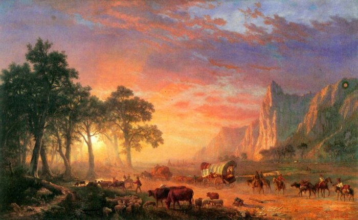 The Oregon Trail landscape canvas art print by Bierstadt
