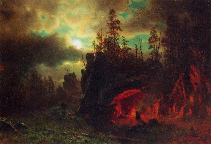 Trapper's Camp landscape canvas art print by Bierstadt