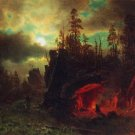 Trapper's Camp landscape canvas art print by Bierstadt