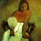 Young Girl with Fan woman canvas art print by Paul Gauguin