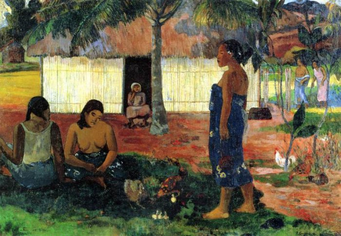 No te aha oe riri? Why are you Angry? 1896 women canvas art print by Paul Gauguin