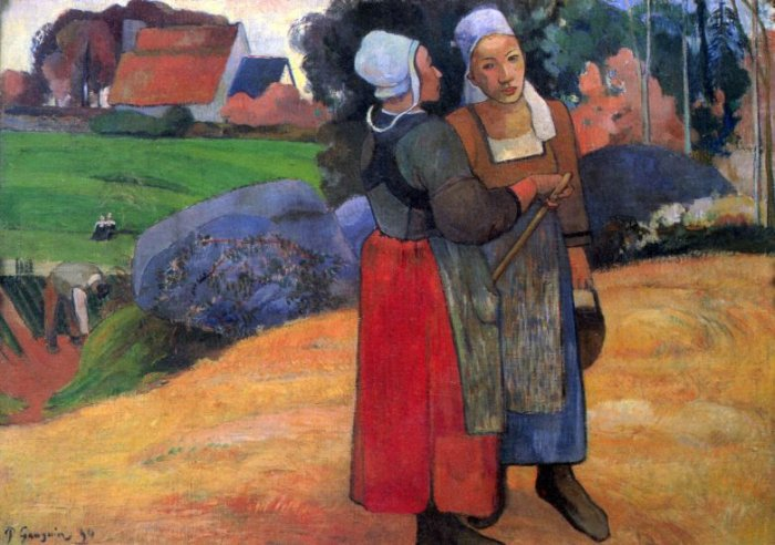 Breton Famers women canvas art print by Paul Gauguin