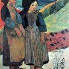 Breton Near sea water landscape women canvas art print by Paul Gauguin