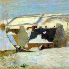Breton Village in Snow water landscape canvas art print by Paul Gauguin
