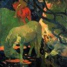 The Mold horses landscape canvas art print by Paul Gauguin