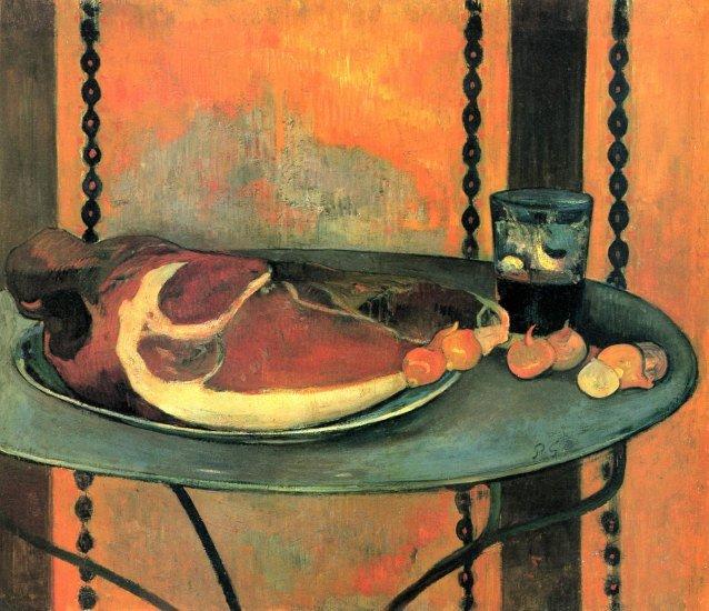The Ham still life canvas art print by Paul Gauguin