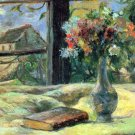 Flower Vase in Window still life canvas art print by Paul Gauguin