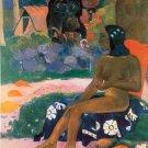 Woman landscape garden flower canvas art print by Paul Gauguin