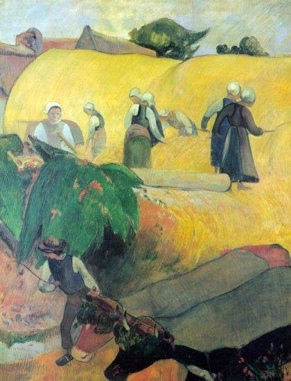 Harvest In Brittany landscape women men cows canvas art print by Paul Gauguin
