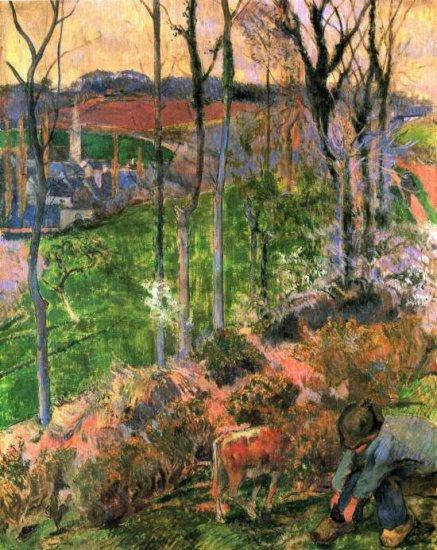 Small Breton Wooden Shoe landscape canvas art print by Paul Gauguin