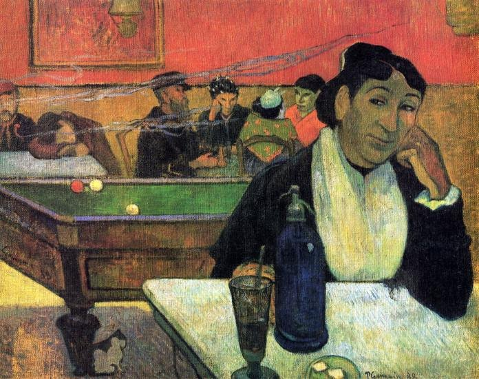Madame Ginoux in Cafe woman portrait canvas art print by Paul Gauguin