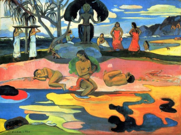Mohana no Atua Mohana in activity women beach landscape canvas art print by Paul Gauguin