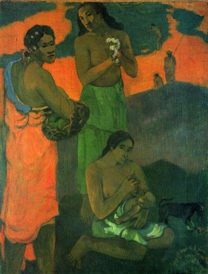Motherhood baby women canvas art print by Paul Gauguin