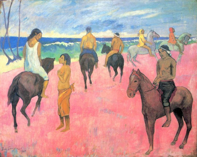 Riding on the Beach horses equestrian water landscape woman canvas art print by Paul Gauguin