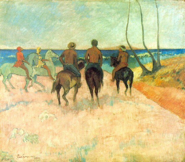 Riding on the Beach II horses equestrian water landscape canvas art print by Paul Gauguin