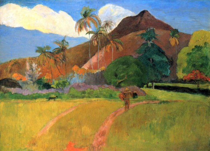 Mountains in Tahiti landscape canvas art print by Paul Gauguin